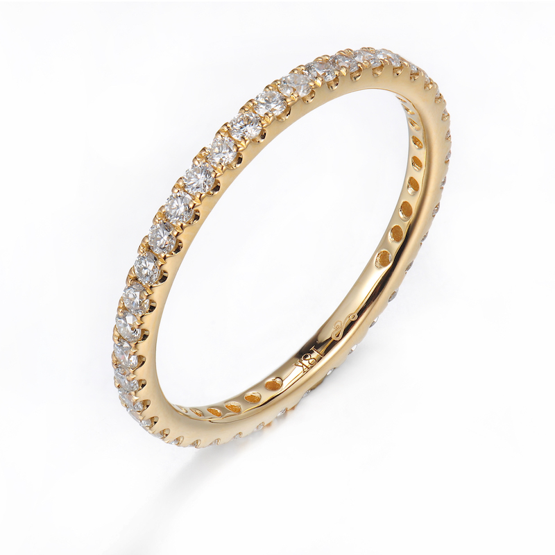 wedding bands anniversary yellow set handmade and diamond stackable half gold band eternity pave