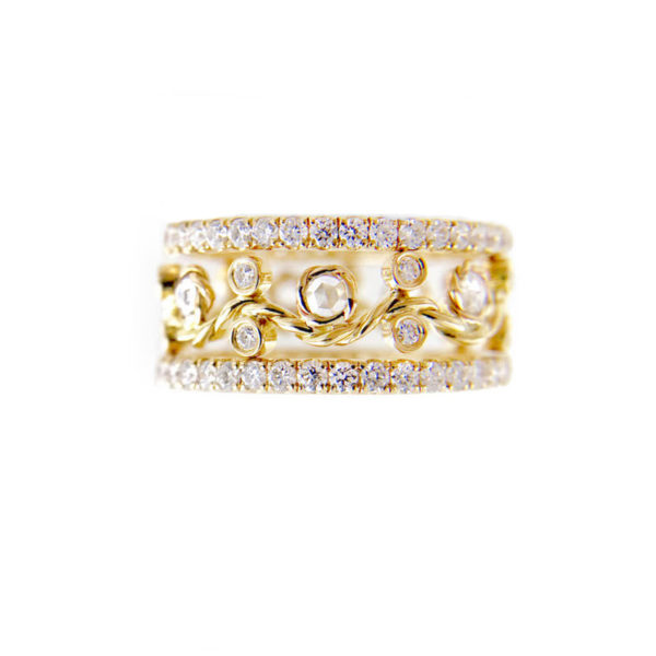 Twist Open Lacey Rose Cut Pave Diamond Eternity 9mm Ring Stacking Set with total 1.606 carat white diamonds in 14k and 18k by JeweLyrie
