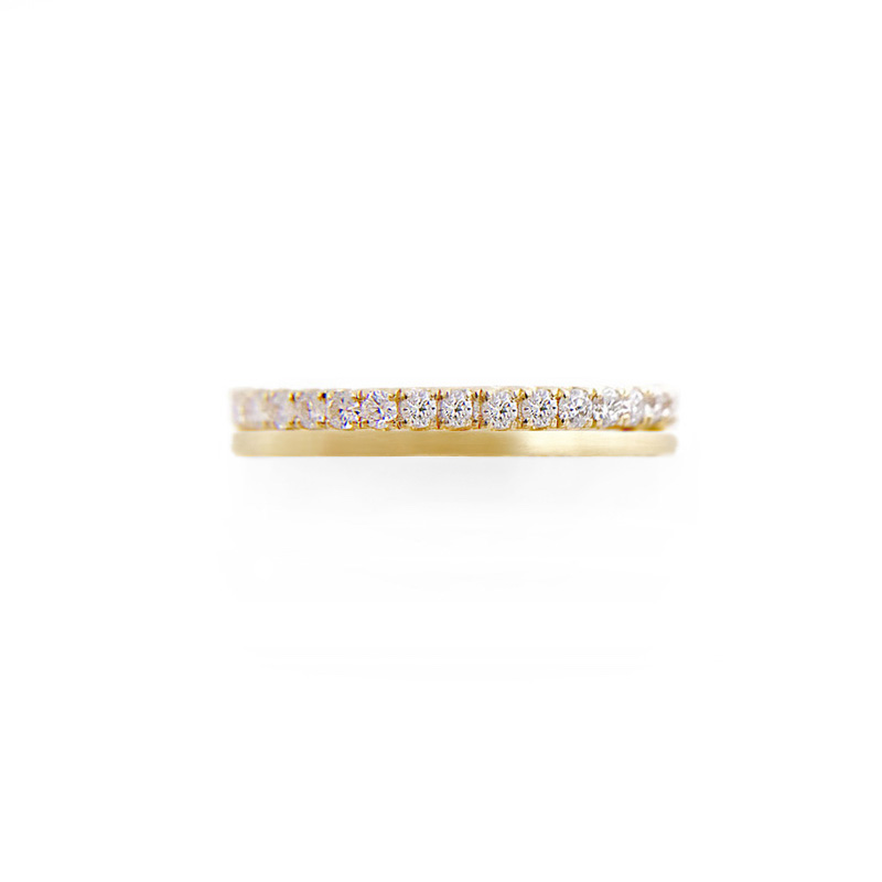 JeweLyrie Signature 3mm Sparkly Pave Diamond Double Satin Stripe Band Two Ring Stacking in 14k or 18k with total 0.60 carat of white diamonds