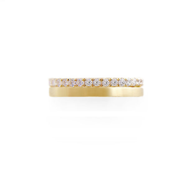JeweLyrie Signature Sparkly Pave Diamond Double Satin Stripe Band Two Ring Stacking in 14k or 18k with total 0.60 carat of white diamonds