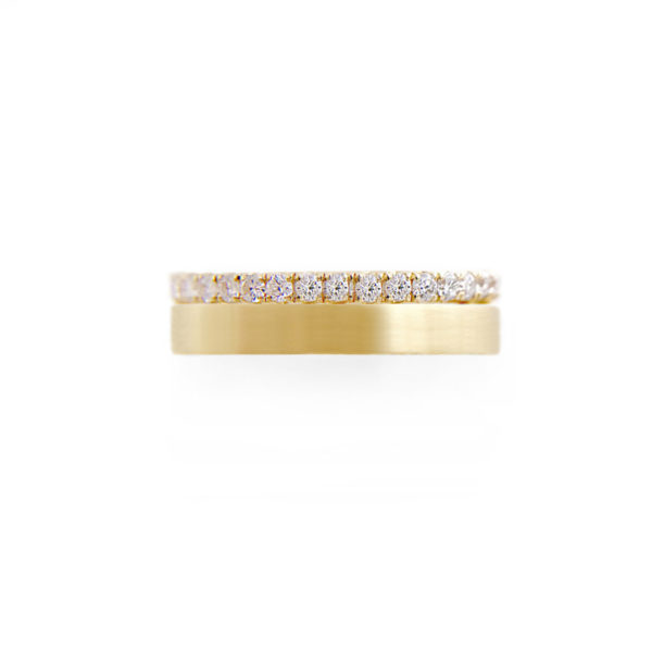 5mm Sparkly Pave Diamond Satin Square Band Two Ring Stacking in 14k or 18k with total 0.60 carat of white diamonds by JeweLyrie