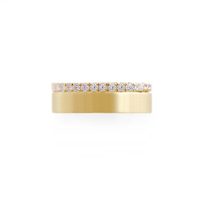 6mm Sparkly Pave Diamond Satin Square Band Two Ring Stacking in 14k or 18k with total 0.60 carat of white diamonds by JeweLyrie