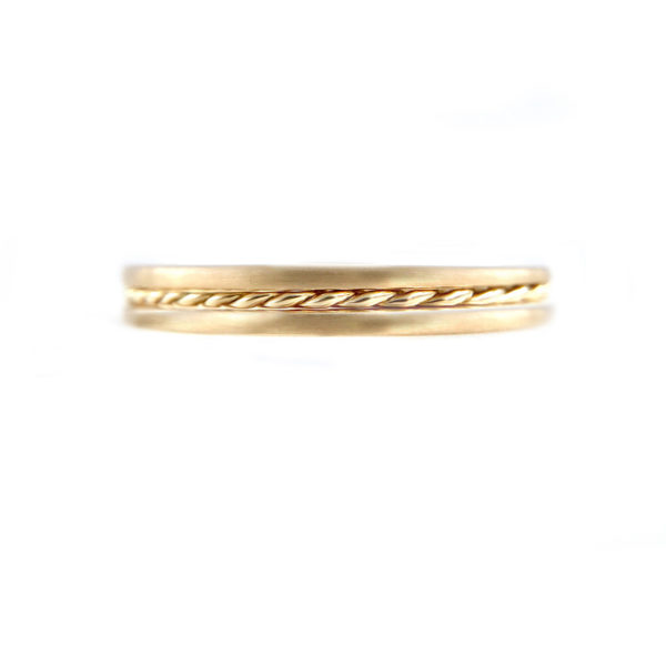 Slim Chic 1mm Satin Gold Band Ring Guard Spacer makes statement from subtle to dashing, available in 14k and 18k, yellow, white and rose gold by JeweLyrie.