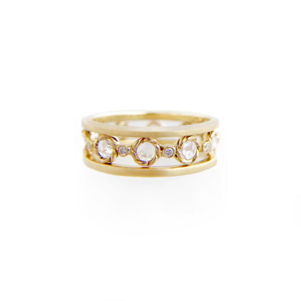 Rose Cut Diamond Twist Setting Satin Band Ring Stacking Set with ultra slim Pavé Diamond Eternity Ring Guards in 14k and 18k
