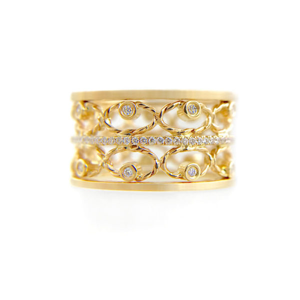 Twist Petal Open Lace pave diamond Satin Band Ring Stacking Set with ultra slim Pavé Diamond Eternity Ring Guards in 14k and 18k