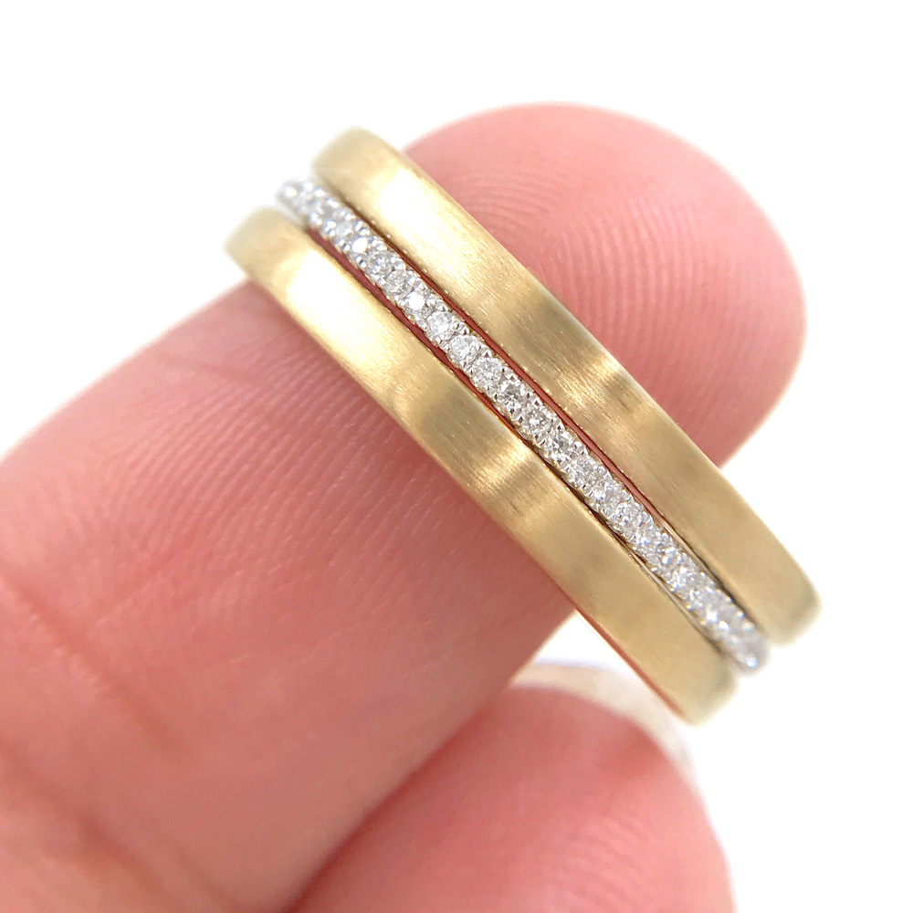 Chic square 2mm Satin Gold Band Ring Guard Spacer by JeweLyrie