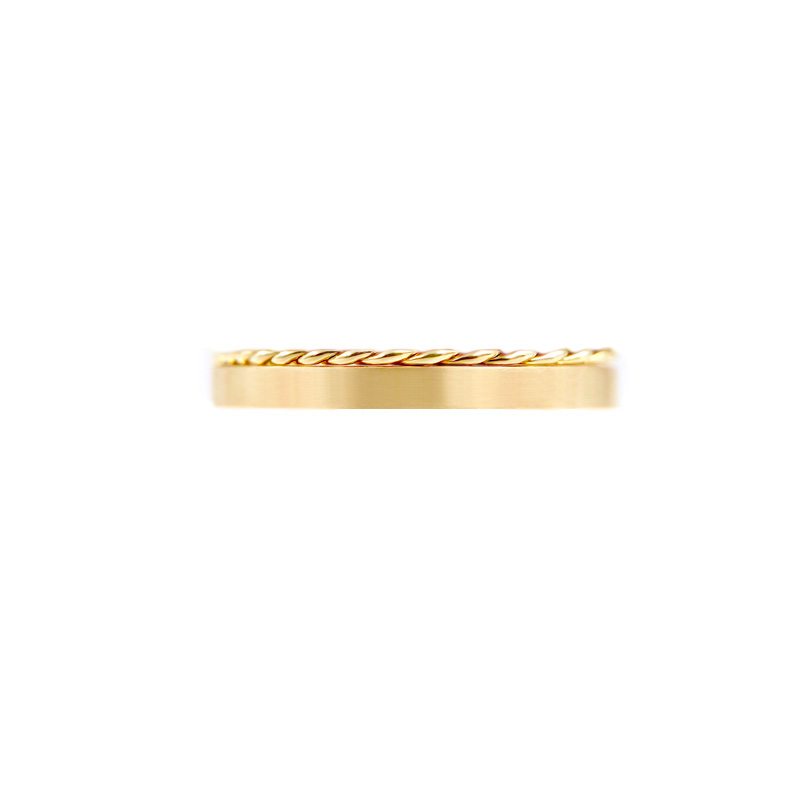 Contemporary 2.8mm signature Slim Twist Satin Square Band Two Ring Stacking All Metal Chic in 14k or 18k yellow white and rose gold by JeweLyrie
