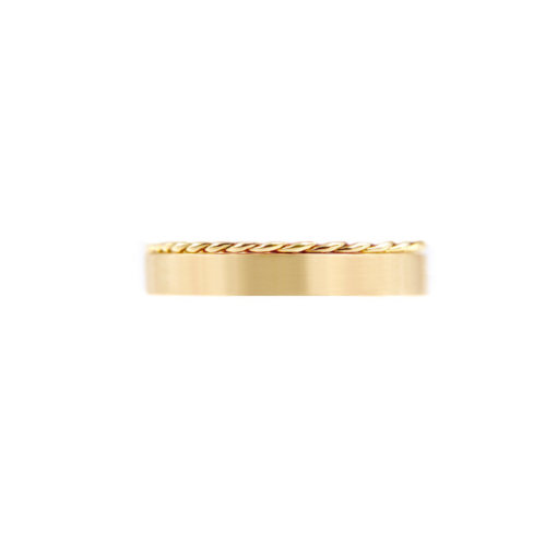 Contemporary 3.8mm signature Slim Twist Satin Square Band Two Ring Stacking All Metal Chic in 14k or 18k yellow white and rose gold by JeweLyrie