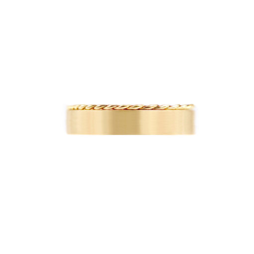 Contemporary 4.8mm signature Slim Twist Satin Square Band Two Ring Stacking All Metal Chic in 14k or 18k yellow white and rose gold by JeweLyrie