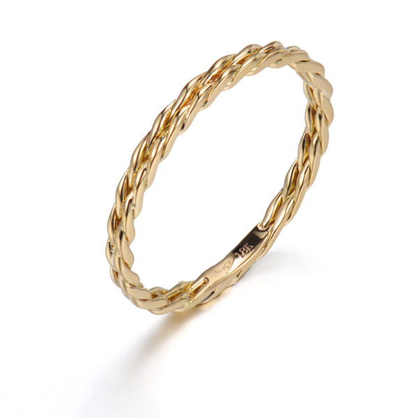 JeweLyrie Signature Gold Slim Twist 1.6mm band Ring Guard Spacer, makes statement from subtle to dashing, available in 14k and 18k by JeweLyrie.