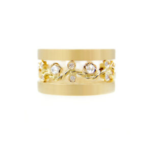 Open Lacy Rose Cut Diamond Twist Vine Satin Band Ring Stacking Set of three with total 0.406 carat white diamonds in 14k and 18k by JeweLyrie