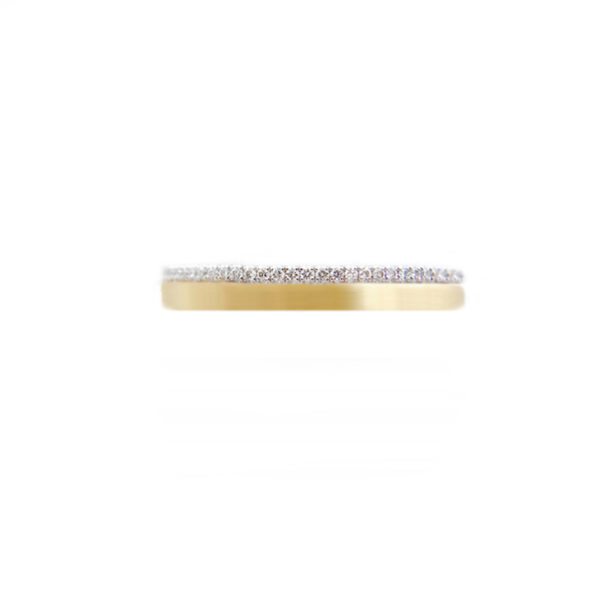 JeweLyrie Signature 3mm Slim Pave Diamond Satin Square Band Two Ring Stacking in 14k or 18k with total 0.19 carat of white diamonds