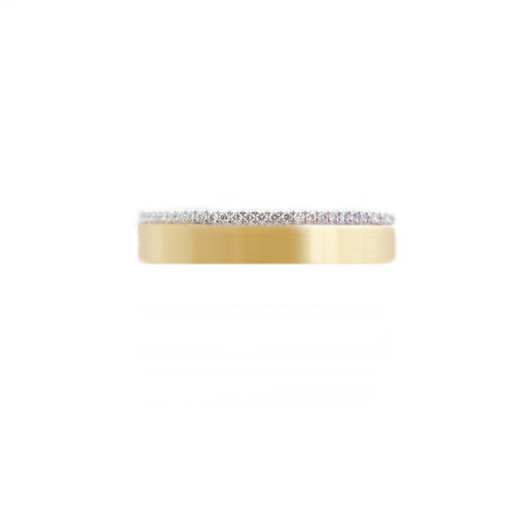 JeweLyrie Signature 4mm Slim Pave Diamond Satin Square Band Two Ring Stacking in 14k or 18k with total 0.19 carat of white diamonds