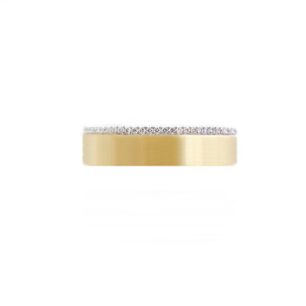 JeweLyrie Signature 5mm Slim Pave Diamond Satin Square Band Two Ring Stacking in 14k or 18k with total 0.19 carat of white diamonds
