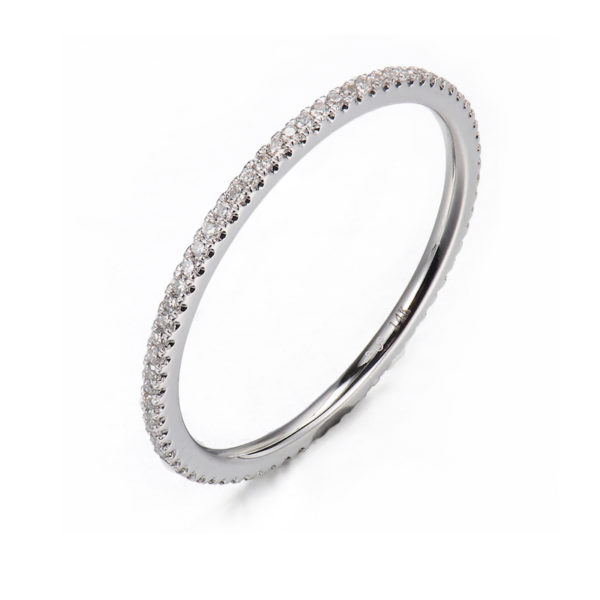 Slim 1mm Micro Pavé Diamond Eternity Band Ring Guard Spacer available in 14k and 18k, yellow, white and rose gold by JeweLyrie.