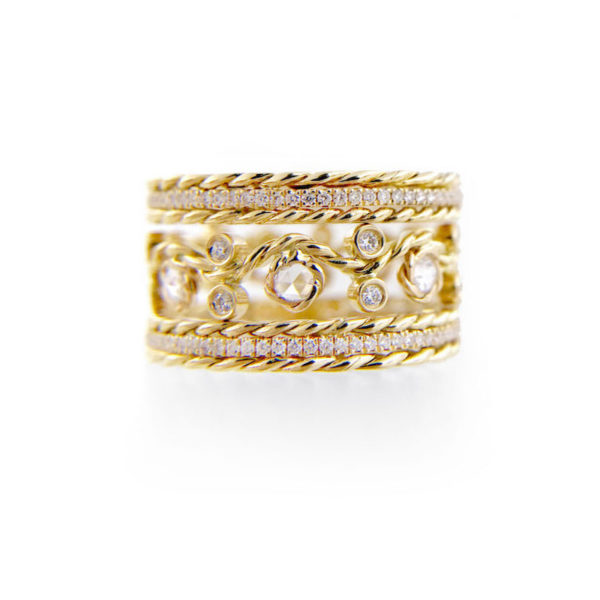 Twist Open Lacey Rose Cut Pave Diamond Eternity 10.2mm Ring Stacking Set with total 1.606 carat white diamonds in 14k and 18k by JeweLyrie