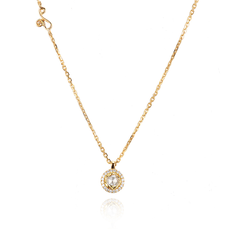 63-Signature-Twist-Bezel-Rose-Cut-Diamond-Drop-Gold-Pendant-Necklace-C