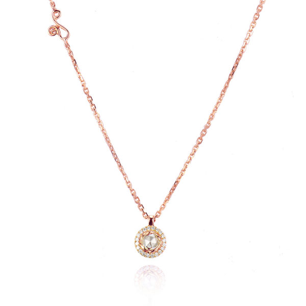 Signature Twist Bezel Rose Cut Diamond Drop Gold Pendant Necklace