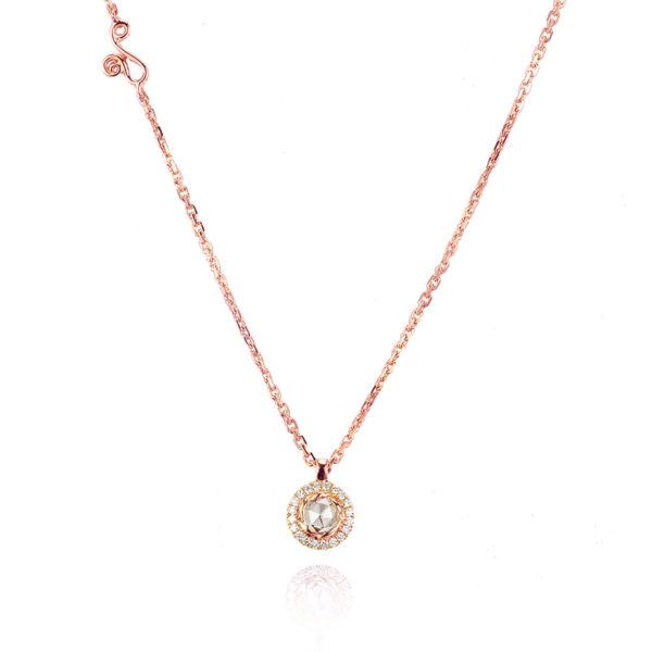 Signature Twist Bezel Rose Cut Diamond Drop Gold Pendant Necklace