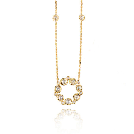 Signature Twist Bezel Rose Cut Diamond Eternity Pendant Necklace