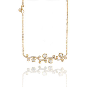 Twist Bezel Set Scattered Rose Cut Diamond Horizontal Wavy Bar Necklace in 18k and 14k with choice of yellow white or rose gold by JeweLyrie