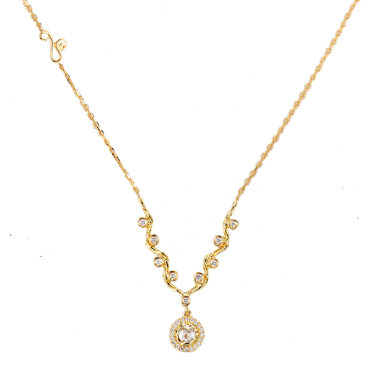 Rose Cut Diamond Drop Signature Handcrafted Wavy Twist V Necklace Iin 14k 18k by JeweLyrie
