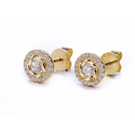 Signature Twist Bezel Rose Cut Diamond Halo Stud Gold Earrings In 14k 18k by JeweLyrie