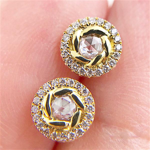 Signature Twist Bezel Rose Cut Diamond Halo Stud Gold Earrings In 14k 18k by JeweLyrie