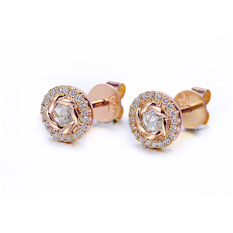 70-Signature-Twist-Bezel-Rose-Cut-Diamond-Halo-Stud-Gold-Earrings