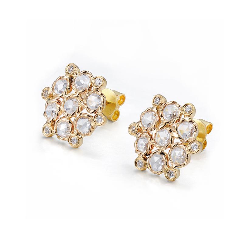 71-Signature-Twist-Bezel-Rose-Cut-Diamond-Bouquet-Stud-Gold-Earrings