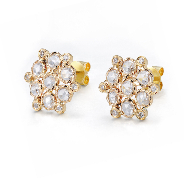 Signature twist bezel set rose cut diamond bouquet cluster studs gold earrings
