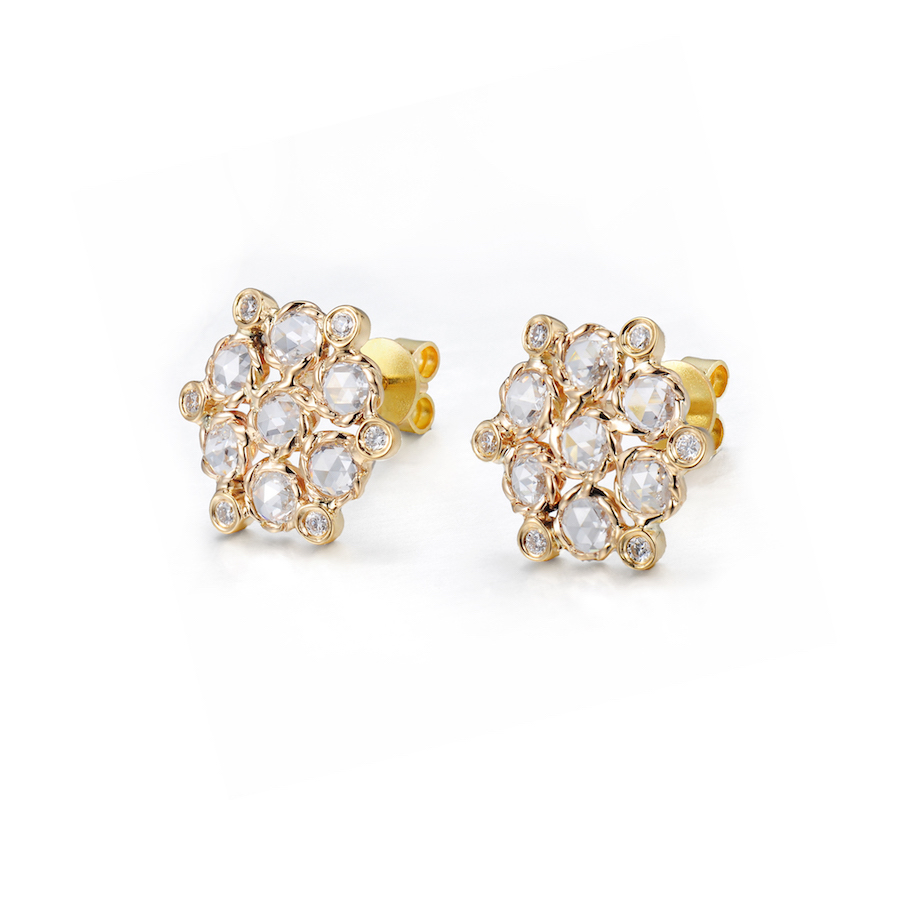Signature Twist Bezel Rose Cut Diamond Bouquet Stud Gold Earrings in 18k 14k by JeweLyrie