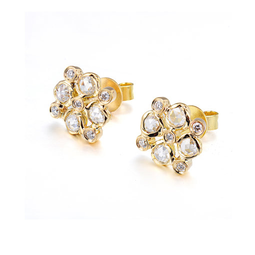 Signature Twist Bezel Rose Cut Diamond Checker Stud Gold Earrings In 14k 18k by JeweLyrie