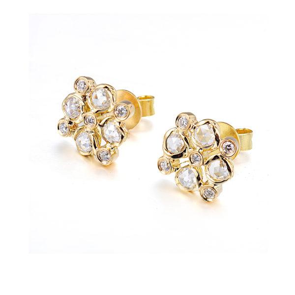 Signature Twist Bezel Rose Cut Diamond Checker Stud Gold Earrings In 14k 18k by JeweLyrie