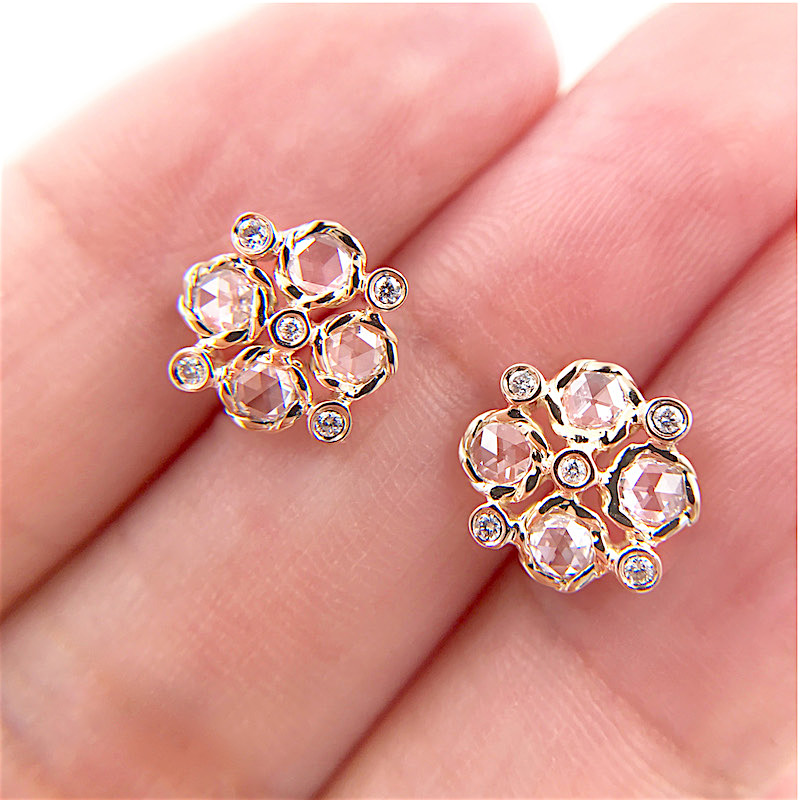 Signature Twist Bezel Rose Cut Diamond Checker Stud Gold Earrings