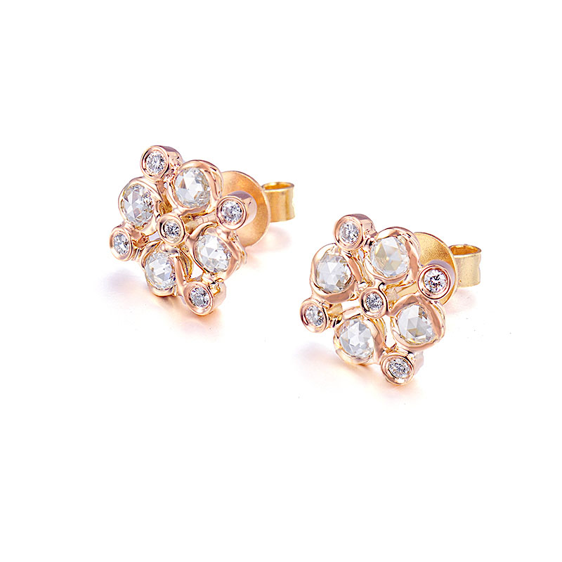 73-Signature-Twist-Bezel-Rose-Cut-Diamond-Checker-Stud-Gold-Earrings