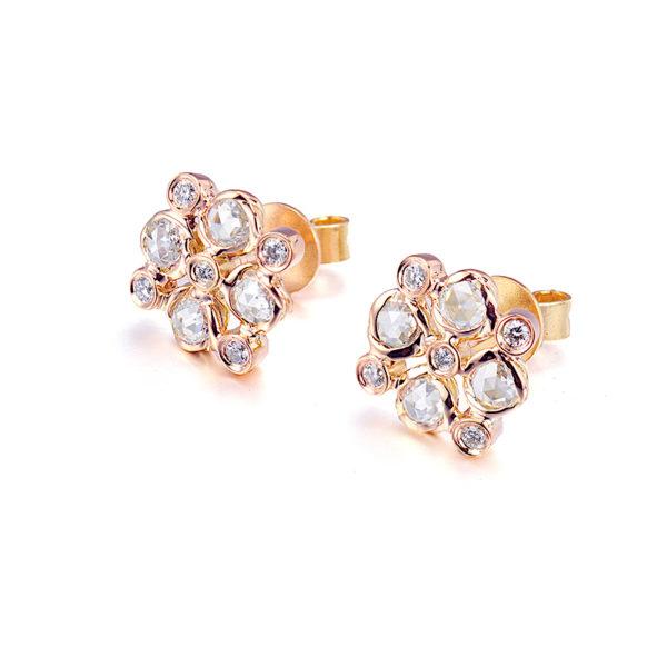 Signature Twist Bezel Rose Cut Diamond Checker Stud Gold Earrings