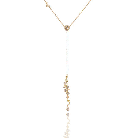 Signature Free Hand Wavy Twist Scattered Rose Cut Diamond Lariat Y Necklace