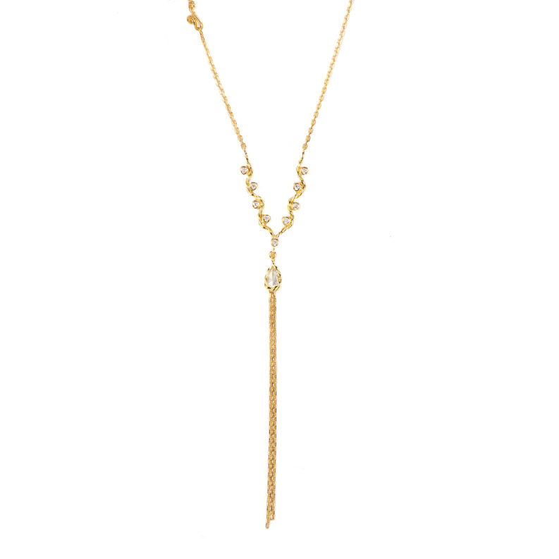 Pear Rose Cut Diamond Drop Chain Tassel Wavy Twist Triangle Pendant Y Necklace In 14k and 18k Gold By JeweLyrie