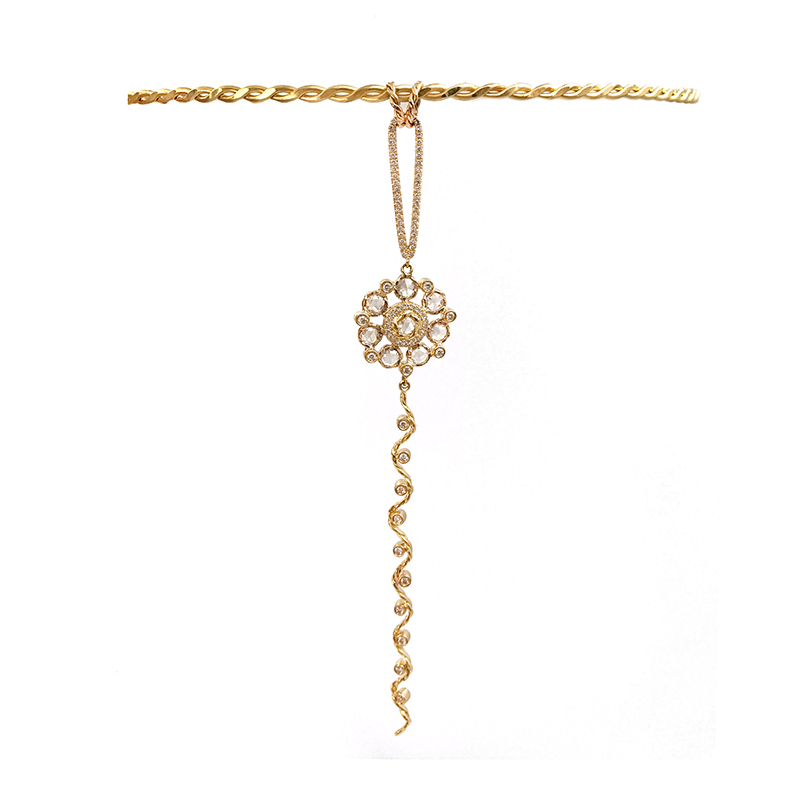 77-78-Rose-Cut-Diamond-Bouquet-Wavy-Twist-Ribbon-Pavé-Loop-Pendant-Necklace-18K-Gold-JeweLyrie