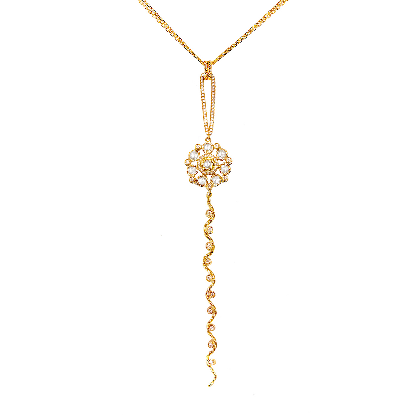 77 79-Rose-Cut-Diamond-Bouquet-Wavy-Twist-Ribbon-Pavé-Loop-Pendant-Necklace-18K-Gold-JeweLyrie_ALGPCH-06L