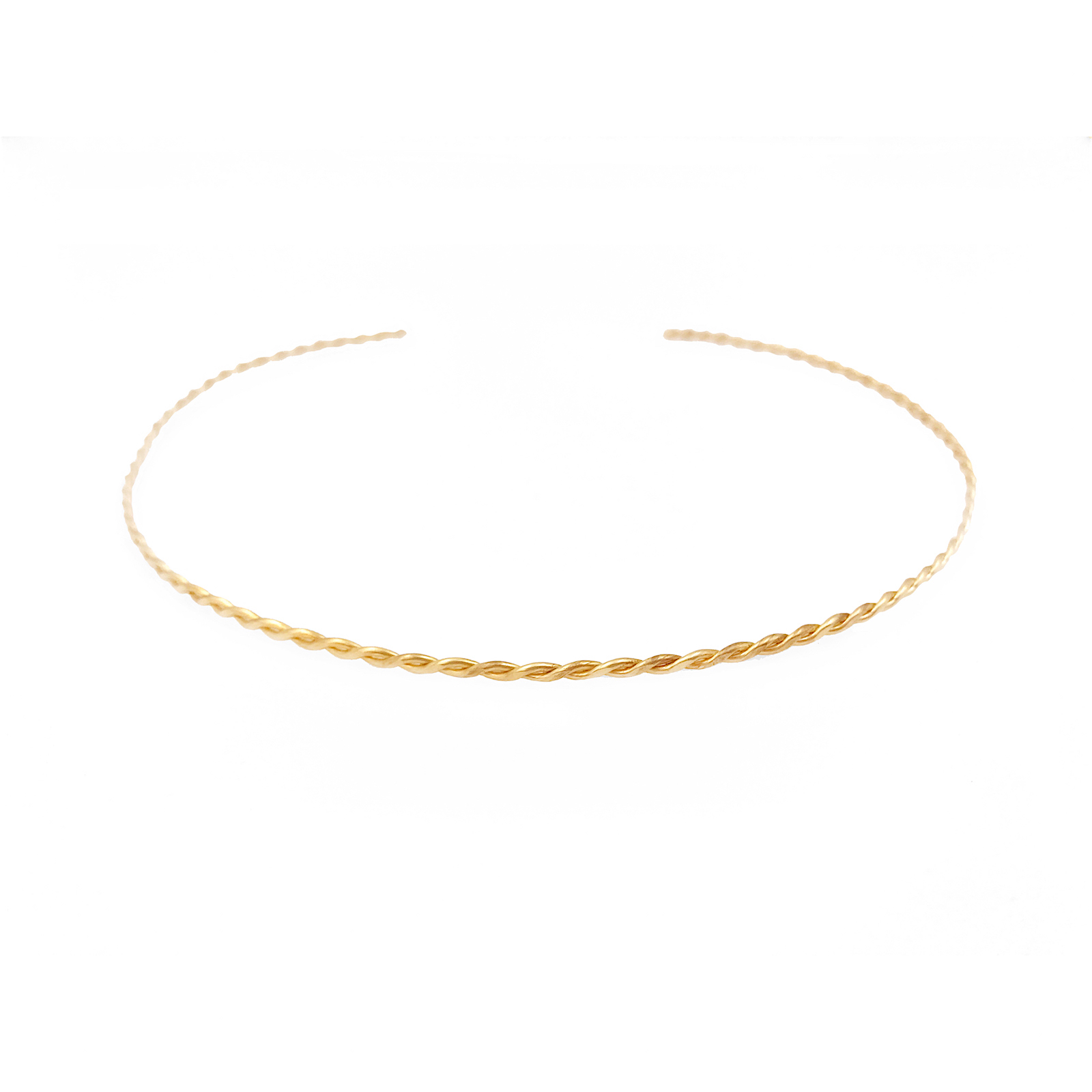 Hand twisted slim textured gold choker collar