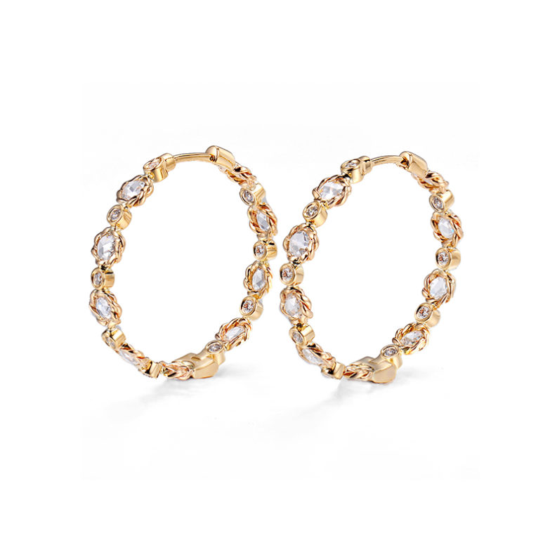 Signature Twist Bezel Rose Cut Diamond Eternity Gold Hoop Earrings in 14k or 18k by JeweLyrie