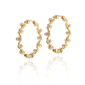 Signature Wavy Twist Scattered Diamond Gold Hoop Earrings
