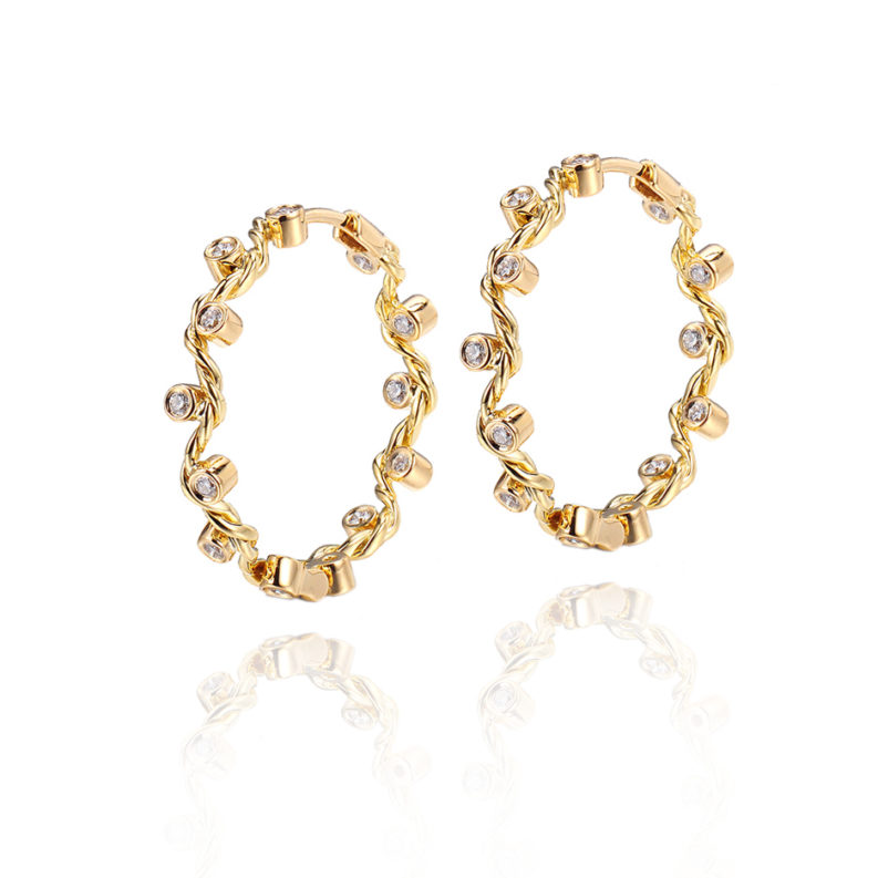 Signature Wavy Twist Scattered Diamond Gold Hoop Earrings