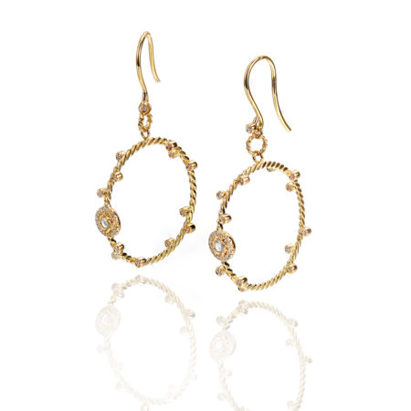 rose cut diamond solitaire gold dangle hoop earrings with total 0.46 carat white diamonds from Allongé collection by JeweLyrie