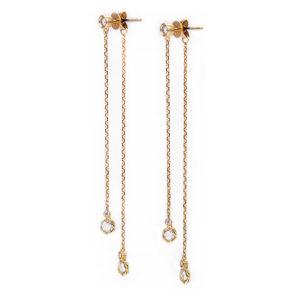 18k 14k rose cut diamond twist set front back double dangle earrings