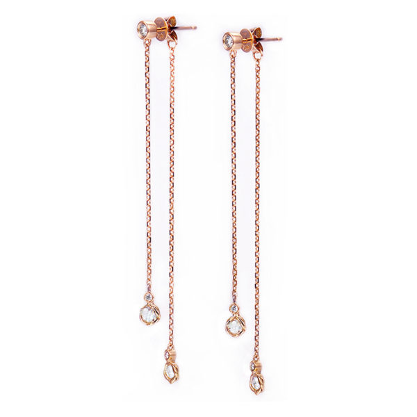 18k 14k rose cut diamond twist set front back double dangle earrings