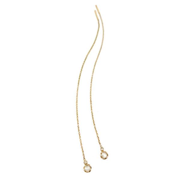 Delicate 18k 14k rose cut diamond twist bezel set threader dangle earrings