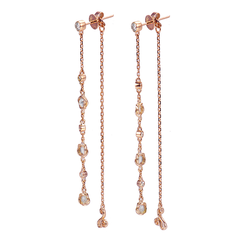 90-18k-14k-rose-cut-diamond-twist-set-three-station-front-back-earrings